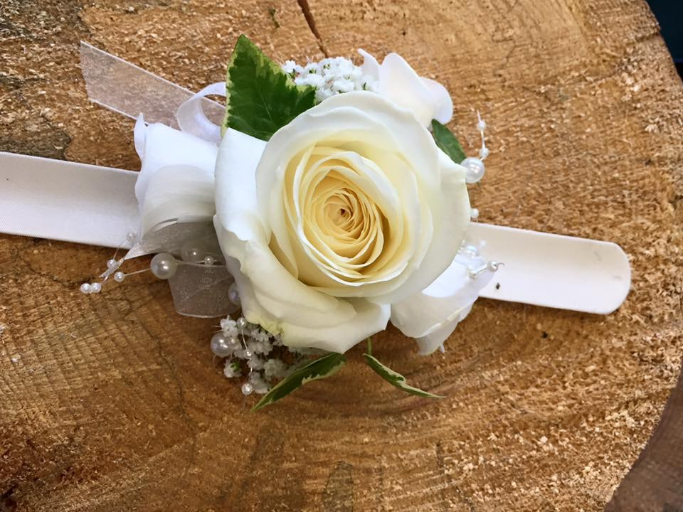 White Rose wrist corsage by Floral Ambitions
